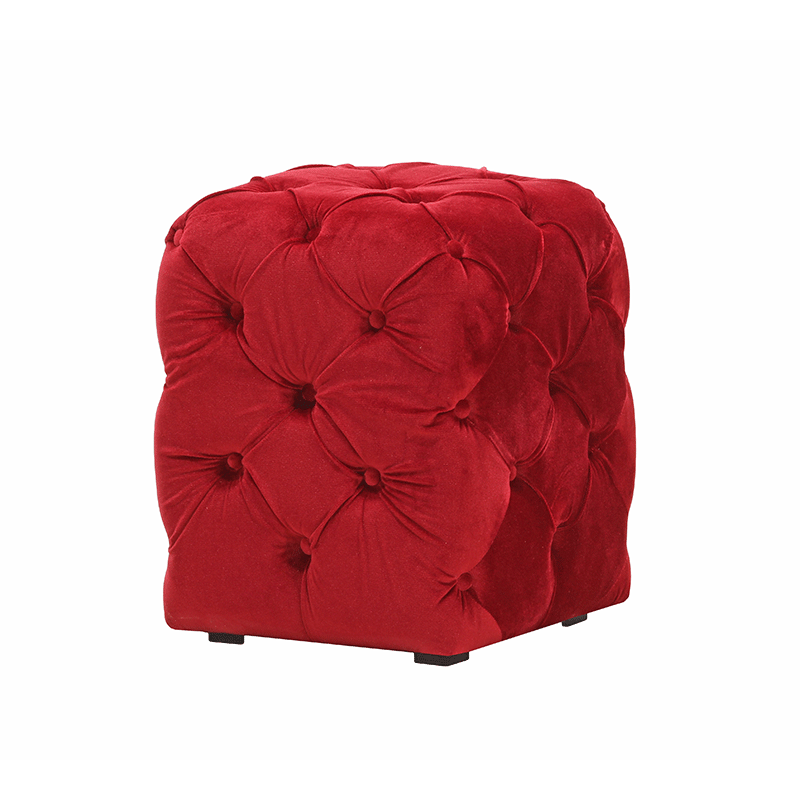 Red Velvet Chesterfield Style Pouffe