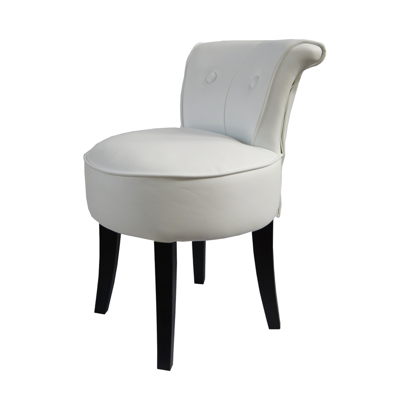 George White Leather Low Chair