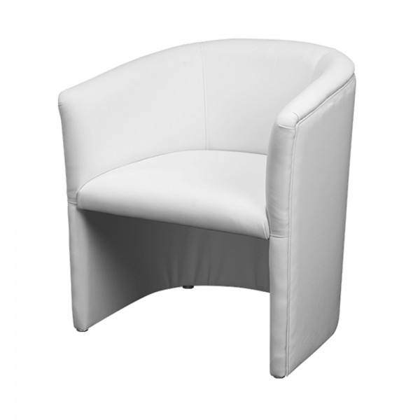 White Faux Leather Tub Chair