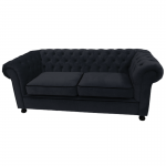 Black Velvet Chesterfield Style 3 Seater Sofa