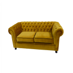 Gold Velvet Chesterfield Style 2 Seater Sofa