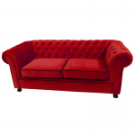 Red Velvet Chesterfield Style 3 Seater Sofa