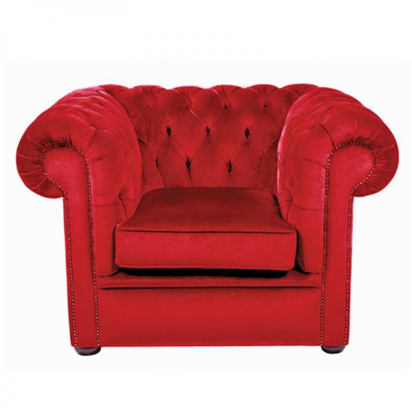 Red Velvet Chesterfield Style Armchair