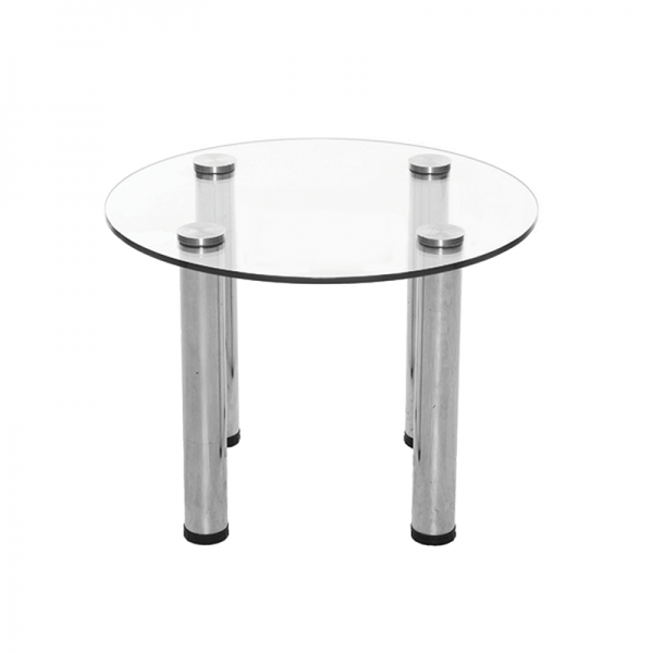 Circular Glass Coffee Table with Silver Legs
