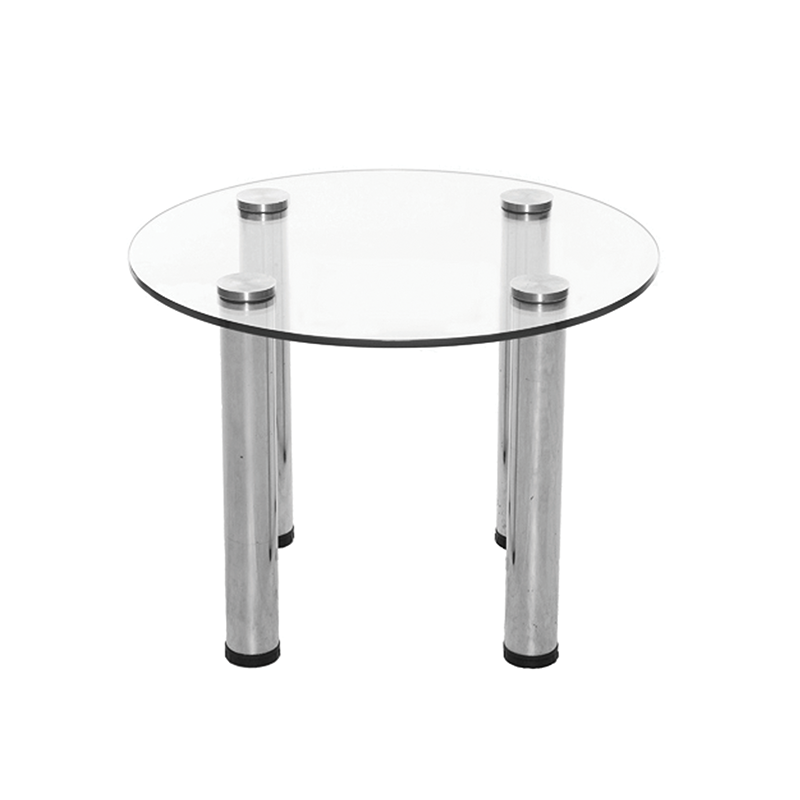Round Glass Coffee Table with Silver Legs
