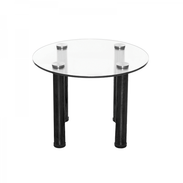 Circular Glass Coffee Table with Black Legs