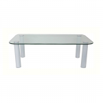 Rectangle Glass Coffee Table with White Legs