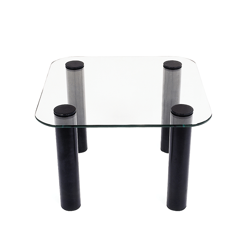 Square Glass Coffee Table with Black Legs