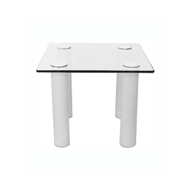 Square Glass Coffee Table with White Legs
