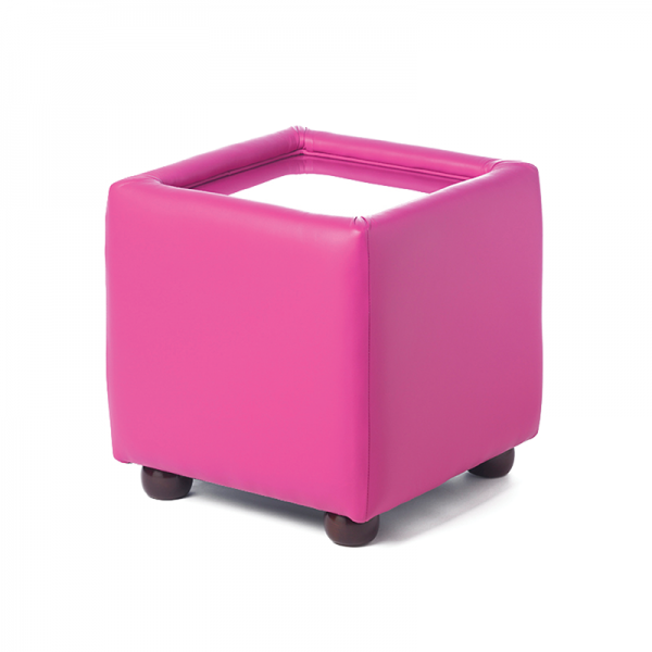 Pink Leather Cube Coffee Table