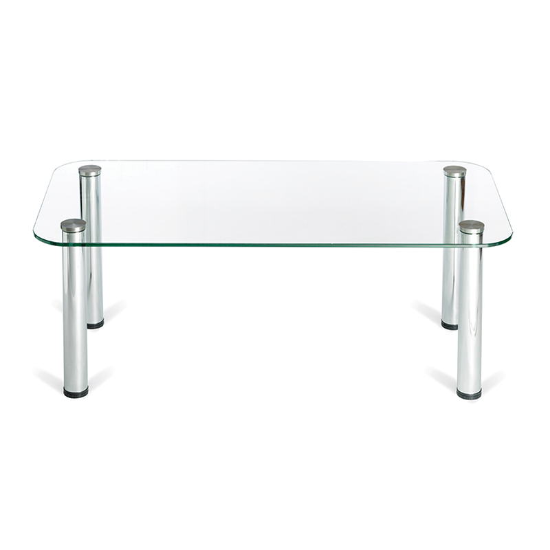 Rectangle Glass Coffee Table with Silver Legs