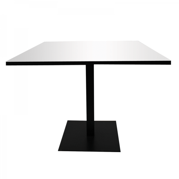 Black Large Base Dining Table - White Square Top