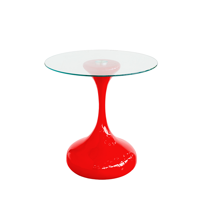 Round Glass Coffee Table with Red Bulb Base