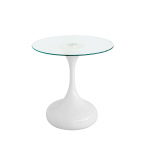 Glass Round Coffee Table with White Bulb Base