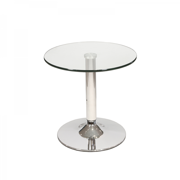 Round Glass Coffee Table with Chrome Trumpet Base