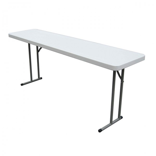 6ft White Plastic Slim Trestle Table