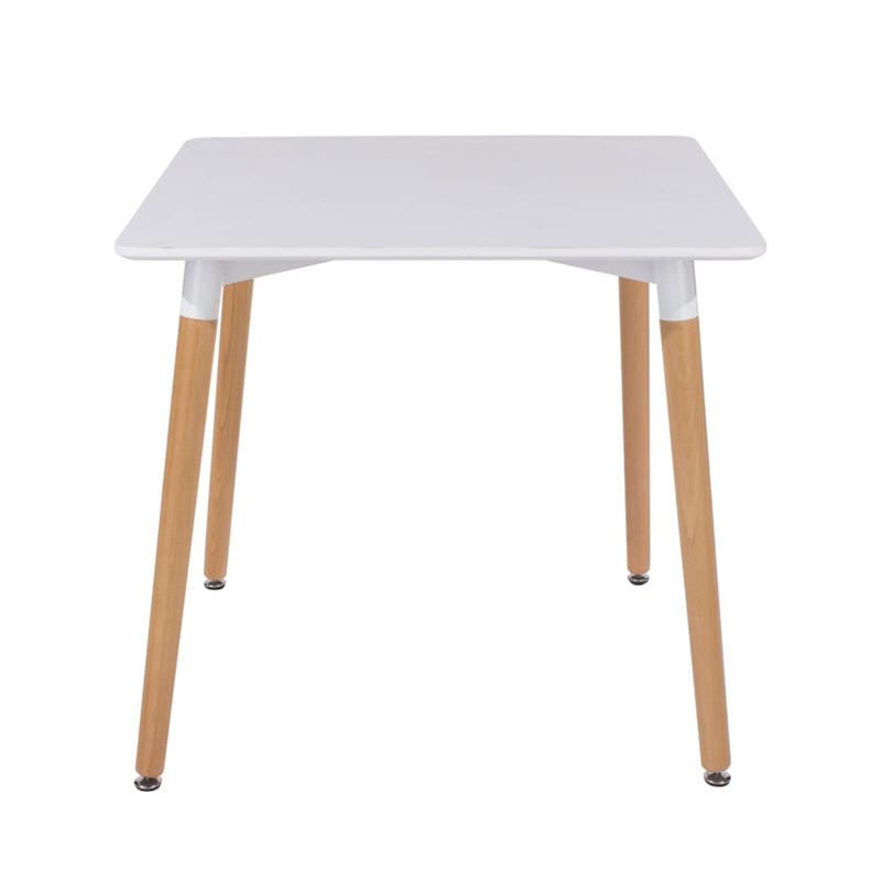 White Square Dining Table with Wooden Legs